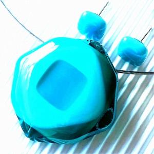 Tengerkék csillagvirág maxi üveg medál és fülbevaló orvosi fém bedugón, üvegékszer szett, Ékszer, Ékszerszett, Ékszerkészítés, Üvegművészet, Meska