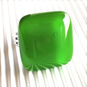 Fűzöld üveg gyűrű, üvegékszer, Ékszer, Gyűrű, Statement gyűrű, Ékszerkészítés, Üvegművészet, Meska