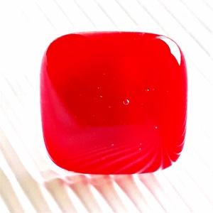 Meggypiros üveg gyűrű, üvegékszer, Ékszer, Gyűrű, Statement gyűrű, Ékszerkészítés, Üvegművészet, Meska