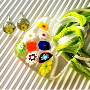 Virágzó függőkert fémmentes üveg medál sárga százszorszép fülbevalóval, nyaklánc, millefiori, virág üvegékszer - ékszer - ékszerszett - Meska.hu