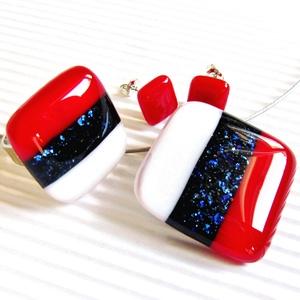 Tengerész üveg medál, gyűrű és fülbevaló NEMESACÉL/ORVOSI FÉM, üvegékszer szett, Ékszer, Ékszerszett, Ékszerkészítés, Üvegművészet, Meska