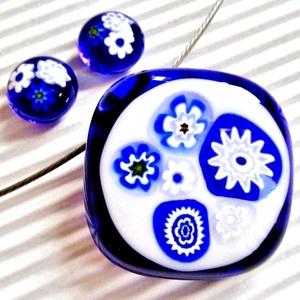 Kékfestő üveg medál és fülbevaló, NEMESACÉL/ORVOSI FÉM, üvegékszer szett - ékszer - ékszerszett - Meska.hu