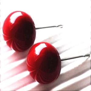Meggy pötty fülbevaló orvosi fém bedugón, üvegékszer, Ékszer, Fülbevaló, Pötty fülbevaló, Ékszerkészítés, Üvegművészet, Meska