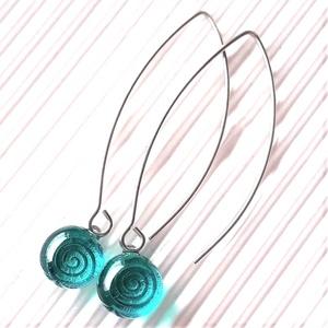 Végtelen tenger design pötty üveg lógós fülbevaló nemesacél alapon, üvegékszer, Ékszer, Fülbevaló, Lógós kerek fülbevaló, Ékszerkészítés, Üvegművészet, Meska