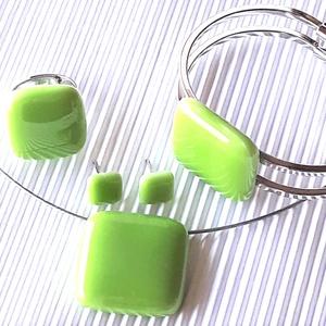 Bambuszrügy üveg kocka medál és franciakapcsos fülbevaló, NEMESACÉL/ORVOSI FÉM, üvegékszer szett - ékszer - ékszerszett - Meska.hu