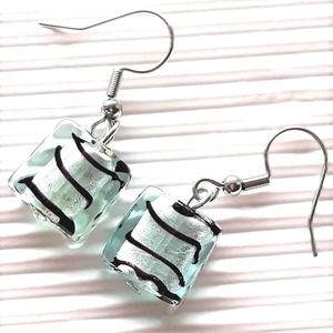 Zebra ezüstben minimal lógós fülbevaló nemesacél akasztón, üveggyöngy ékszer, Ékszer, Fülbevaló, Lógó fülbevaló, Ékszerkészítés, Gyöngyfűzés, gyöngyhímzés, Meska
