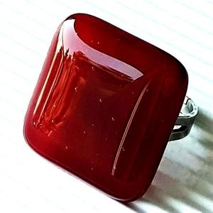 Meggybordó maxi kocka üveg gyűrű, üvegékszer, Ékszer, Gyűrű, Statement gyűrű, Ékszerkészítés, Üvegművészet, Meska