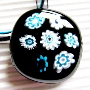 Fekete-türkiz virágfolyó üveg medál, nyaklánc, NEMESACÉL, üvegékszer, Ékszer, Nyaklánc, Medálos nyaklánc, Ékszerkészítés, Üvegművészet, Meska