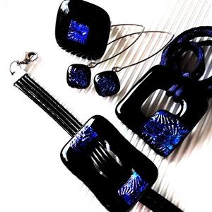 Kék éjfél tavirózsával fekete maxi fémmentes üveg medál, karkötő, gyűrű és fülbevaló, NEMESACÉL, üvegékszer szett, Ékszer, Ékszerszett, Ékszerkészítés, Üvegművészet, Meska