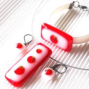 Anna, édes Anna, kell-e piros alma? - medál, karkötő és franciakapcsos fülbevaló, üvegékszer szett, Ékszer, Ékszerszett, Ékszerkészítés, Üvegművészet, Meska