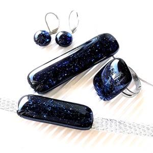 Csillagfényes elegancia üveg medál, gyűrű, karkötő és fülbevaló, NEMESACÉL/ORVOSI FÉM, üvegékszer szett - Meska.hu