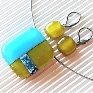 Tündöklő égszínkék-jade mozaik üveg medál és franciakapcsos fülbevaló, NEMESACÉL, üvegékszer szett , Ékszer, Ékszerszett, Ékszerkészítés, Üvegművészet, Meska