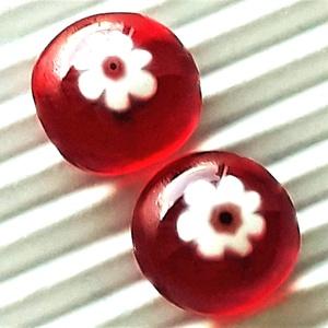 Cseresznyevirág millefiori üveg fülbevaló ORVOSI FÉM, üvegékszer , Ékszer, Fülbevaló, Pötty fülbevaló, Ékszerkészítés, Üvegművészet, Meska