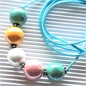 AKCIÓ - Fényes mosoly kerámia-gyöngy statement nyaklánc, gyöngy ékszer, Ékszer, Nyaklánc, Statement nyaklánc, Ékszerkészítés, Gyöngyfűzés, gyöngyhímzés, Meska