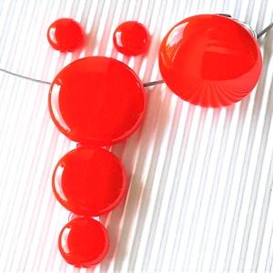Vérnarancs körfüzér üveg medál, maxi gyűrű és fülbevaló ORVOSI FÉM bedugón, üvegékszer szett, Ékszer, Ékszerszett, Ékszerkészítés, Üvegművészet, Meska