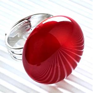 Meggy színű kerek üveg gyűrű, üvegékszer, Ékszer, Gyűrű, Statement gyűrű, Ékszerkészítés, Üvegművészet, Meska