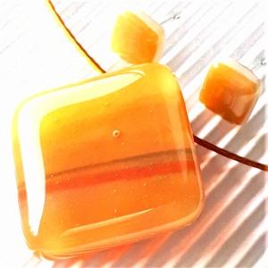 Őszi rét aranycsillámmal üveg medál és fülbevaló, NEMESACÉL/ORVOSI FÉM, üvegékszer szett - Meska.hu