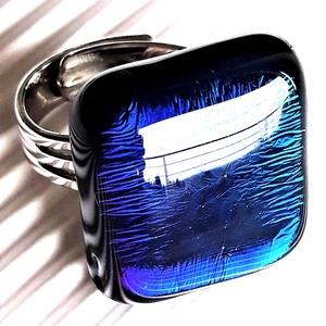 Zafír-kék bársony üveg gyűrű, üvegékszer, Ékszer, Gyűrű, Statement gyűrű, Ékszerkészítés, Üvegművészet, Meska