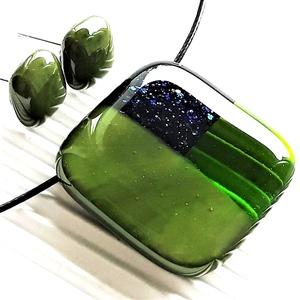 Kéken szikrázó zöld mozaik kocka üveg medál és fülbevaló NEMESACÉL/ORVOSI FÉM, üvegékszer szett  - Meska.hu