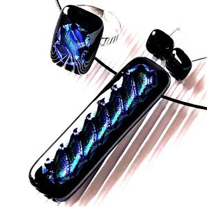 Zafír ragyogás üveg medál, gyűrű és bedugós fülbevaló, NEMESACÉL/ORVOSI FÉM, üvegékszer szett, Ékszer, Ékszerszett, Ékszerkészítés, Üvegművészet, Meska