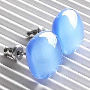 Levendula MAXI bedugós üveg kocka fülbevaló ORVOSI FÉM bedugón, minimal üvegékszer, Ékszer, Fülbevaló, Pötty fülbevaló, Ékszerkészítés, Üvegművészet, Meska