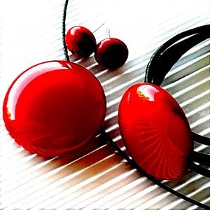 Meggy színű kerek üveg medál, karkötő és fülbevaló, NEMESACÉL/ORVOSI FÉM, üvegékszer szett - Meska.hu