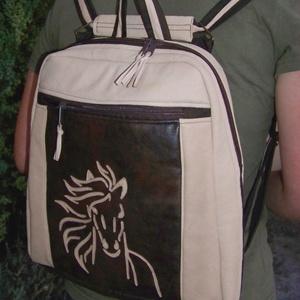 My Horse hátizsák, válltáska, kézitáska, crosstáska, applikált lóval, bőr, 4in1, újdonság!, Táska & Tok, Variálható táska, Felső kategóriás hátizsák, natúr stílusban, bevezető áron.  Az elülső nagy zsebet bőrből applikált l..., Meska