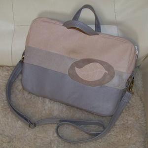 Bőrtáska, falevéllel (válltáska, crosstáska, kézitáska), Táska & Tok, Variálható táska, Puha tapintású, valódi bőr táska, finom, pasztell színekkel, az előlapba applikált falevéllel, kidol..., Meska