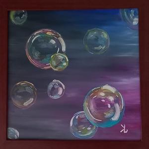 Buborékos festmény, Művészet, Festmény, Olajfestmény, Festészet, (Kézzel festett saját alkotás) 40×40cm farost falapra készült olajfestmény fa kerettel, akasztóval. ..., Meska