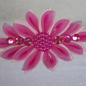 Rózsaszín virágos hajpánt, Táska, Divat & Szépség, Hajbavaló, Ruha, divat, Hajpánt, Mindenmás, Kanzashi technikával készült gyönyörű virágdíszes hajpánt, mely átlátszó rózsaszín organza szalag és..., Meska