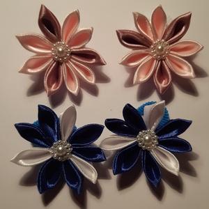 Virágos hajgumik, Ruha & Divat, Hajdísz & Hajcsat, Hajgumi, Mindenmás, Kanzashi technikával készítettem virágokat, szatén szalagból, melyet műanyag dekorvirággal díszítet..., Meska