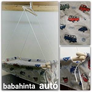 Babahinta - autó minta RUGÓVAL, Játék & Gyerek, Hinta & Kerti játék, Varrás, Csomózás, A megjelölt mintával kapható babahinta. \n\nÚjszülöttől 25 kg-os korig használható, fekve és ülve is. ..., Meska