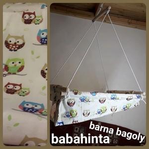Babahinta - bagoly minta RUGÓVAL, Játék & Gyerek, Hinta & Kerti játék, Varrás, Csomózás, A megjelölt mintával kapható babahinta. \n\nÚjszülöttől 25 kg-os korig használható, fekve és ülve is. ..., Meska