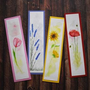 Virágos könyvjelzők, Művészet, Festmény, Akvarell, Festészet, Kedves személyes ajándék lehet a festett könyvjelző könyvbarátoknak. A virágokat akvarellel festette..., Meska