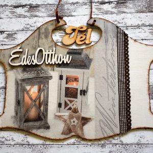 Téli ajtótábla, választható felirattal, Otthon & Lakás, Dekoráció, Ajtódísz & Kopogtató, Decoupage, transzfer és szalvétatechnika, 18x24 cm-es, hangulatos téli mintájú ajtótábla. Mivel nem kifejezetten karácsonyi, egész télen díszí..., Meska