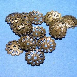Gyöngykupak (23. minta/10 db) - 9 mm, Gyöngy, ékszerkellék, Egyéb alkatrész, Ékszerkészítés,  Gyöngykupak (23. minta) - bronz színben  Mérete: 9x1 mm  Az ár 10 darab termékre vonatkozik.  , Alkotók boltja
