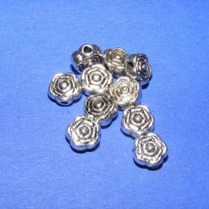 Köztes (604. minta/1 db) - rózsa, Gyöngy, ékszerkellék,  Ezüst színű köztes (604. minta) - rózsa  Mérete: 6,5 mm Az ár 1 db termékre vonatkozik.  , Meska