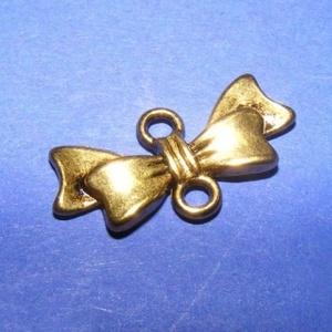 Köztes/medál alap (508. minta/1 db) - masni, Gyöngy, ékszerkellék, Ékszerkészítés,  Kombinált medál és nyaklánc alap (508. minta) - masni  - antik arany színben  Mérete: 20x10 mm   A..., Alkotók boltja