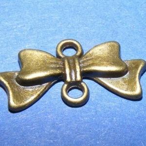 Köztes/medál alap (508/B minta/1 db) - masni, Gyöngy, ékszerkellék,  Kombinált medál és nyaklánc alap (508/B minta) - masni - antik bronz színben  Mérete: 20x10 mm   Az..., Meska