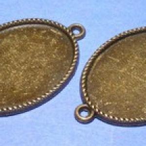 Medál alap (127/A minta/1 db), Gyöngy, ékszerkellék,  Kombinált, öntött medál alap (127/A minta) - ovális - antik bronz színben  Az alkatrészből me..., Meska
