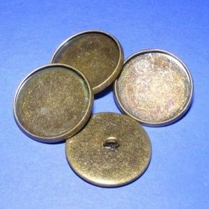 Gomb alap (154. minta/1 db), Gomb, Varrás, \nFém gomb alap (154. minta) - antik bronz színben\n\nA gomb mérete: 22 mmHozzáillő üveglencse mérete: ..., Meska