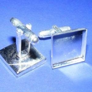 Mandzsettagomb alap (156. minta/2 db) , Gomb, Varrás, \nMandzsettagomb alap (156. minta) - ezüst  színben\n\nA gomb mérete: \r\n17x17 mm (hossza: 28 mm)Hozzáil..., Meska