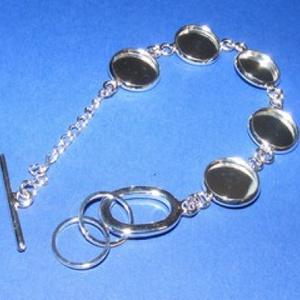 Karkötő alap (204/A minta/1 db), Gyöngy, ékszerkellék,  Karkötő alap (204/A minta) - öt kerek tárcsás - ezüst színben  Mérete: 19 cm (teljes hossz); a tárc..., Meska