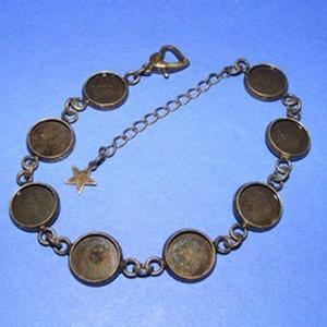 Karkötő alap (213. minta/1 db), Gyöngy, ékszerkellék,  Karkötő alap (213. minta) - nyolc kerek tárcsás - antik bronz színben  Mérete: 24 cm (teljes hossz)..., Meska
