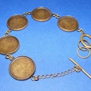 Karkötő alap (214. minta/1 db), Gyöngy, ékszerkellék,  Karkötő alap (214. minta) - öt kerek tárcsás - antik bronz színben  Mérete: 21 cm (teljes hossz)A t..., Meska