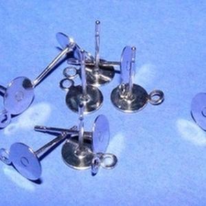 Nemesacél stiftes fülbevaló alap (STAS-25 minta/1 db) - 12x7 mm - gyöngy, ékszerkellék - Meska.hu
