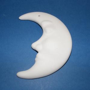 Fehér cserépfigura (7,5x10 cm/1 db) - hold, Díszíthető tárgyak, Cserép,  Cserép hóember - fehér - akasztható - hold  Mérete: 7,5x10 cmFurat: 2,5 mm  Az ár egy darab termékr..., Meska