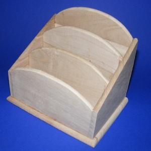 """Mindent bele tartó (három szintes/1 db), Fa,  """"Mindent bele"""" fa tároló - nagy - 3 fakkos    Mérete: 17x12x14 cm (elöl 8 cm)Anyaga: natúr fa, ne..., Meska"""