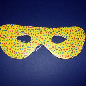 Mintás papírszemüveg (21,5x8 cm/1 db) - sárga, Díszíthető tárgyak, Papírmasé, Mindenmás, \nMintás papírszemüveg - sárga - gumival\n\nMérete: 21,5x8 cm\nAz ár egy darab termékre vonatkozik.\r\n..., Meska