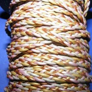 Fonott bőrszíj - 5x2 mm (1. minta - LAPOS/0,5 m) - vegyes színű, Vegyes alapanyag, Egyéb alapanyag,  Fonott bőrszíj (1. minta) - lapos - vegyes színűValódi bőr alapanyagból készült fonott, lapos fonat..., Meska